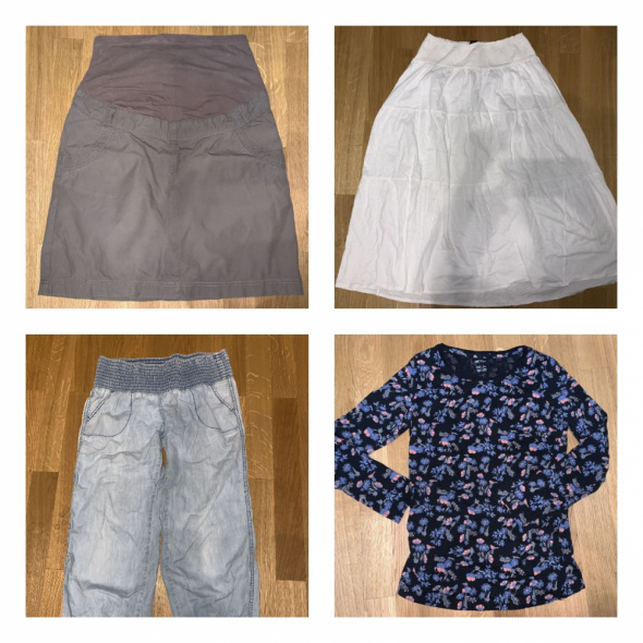 9szt zestaw ciąża spódnica rajstopy spodnie bluzka marynarka 38