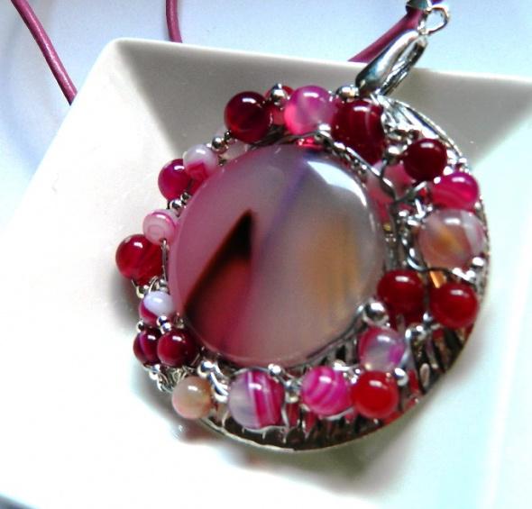 Naszyjniki Wisior z agatami biżuteria artystyczna unikat