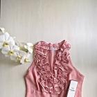 Elegancka bluzka z falbanką pudrowy róż