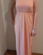 Letnia długa sukienka morelowa M...