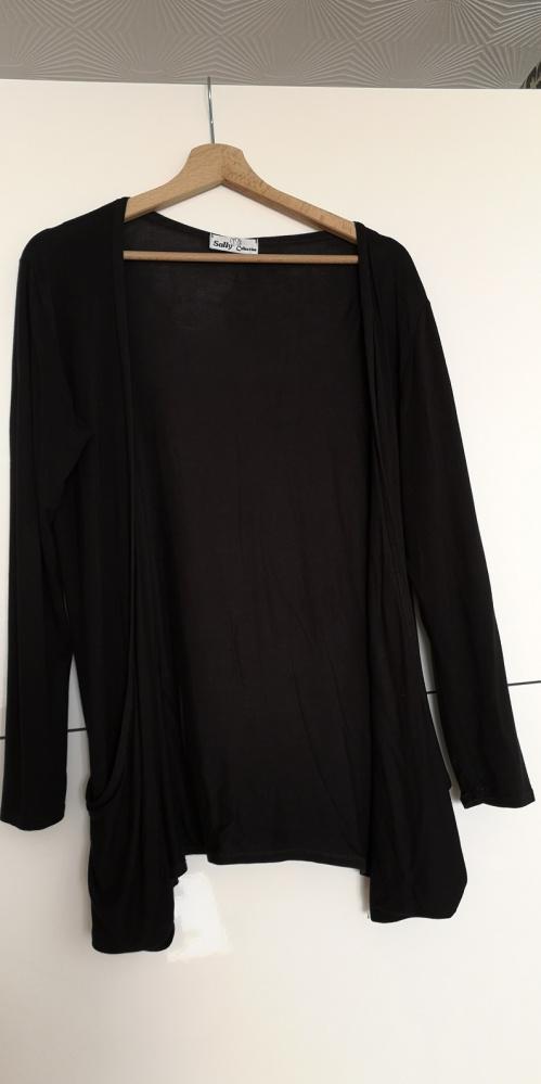 Kardigan wdzianko narzutka bluza sweter czarny 38 M...