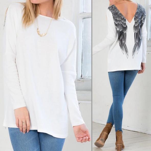 Swetry Biały sweter skrzydła