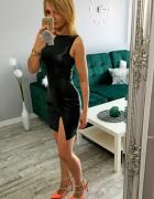 SEXY sukienka rozporek dekold czarna eko skóra m l 38 40...
