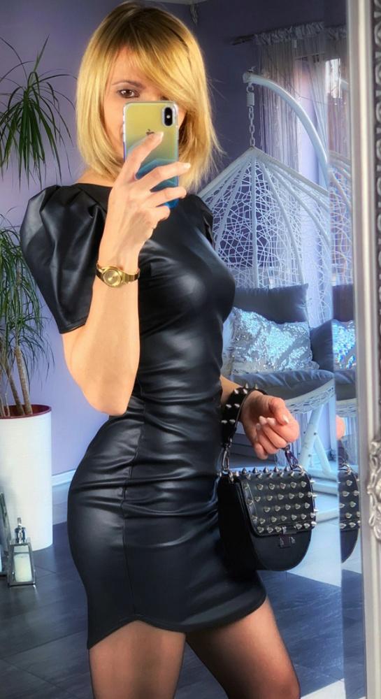 sexy sukienka mini xs s 34 36 bufki czarna black mini eko skóra