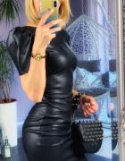 sexy sukienka mini xs s 34 36 bufki czarna black mini eko skóra...