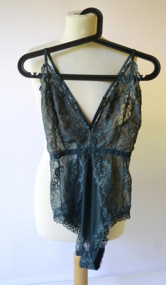 Body Koronkowe H&M XL 42 Zielone Koronka Sexy Siateczka