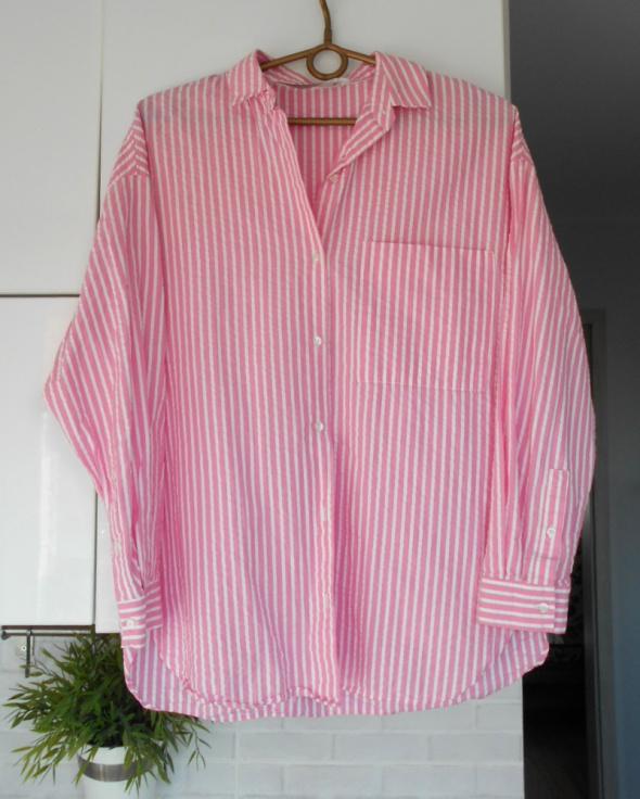 Zara koszula oversize paski pink różowa boyfriend...