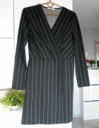 Mango sukienka kopertowa marynarka paski prążki czarna...