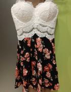Śliczna sukienka floral kwiaty koronka...