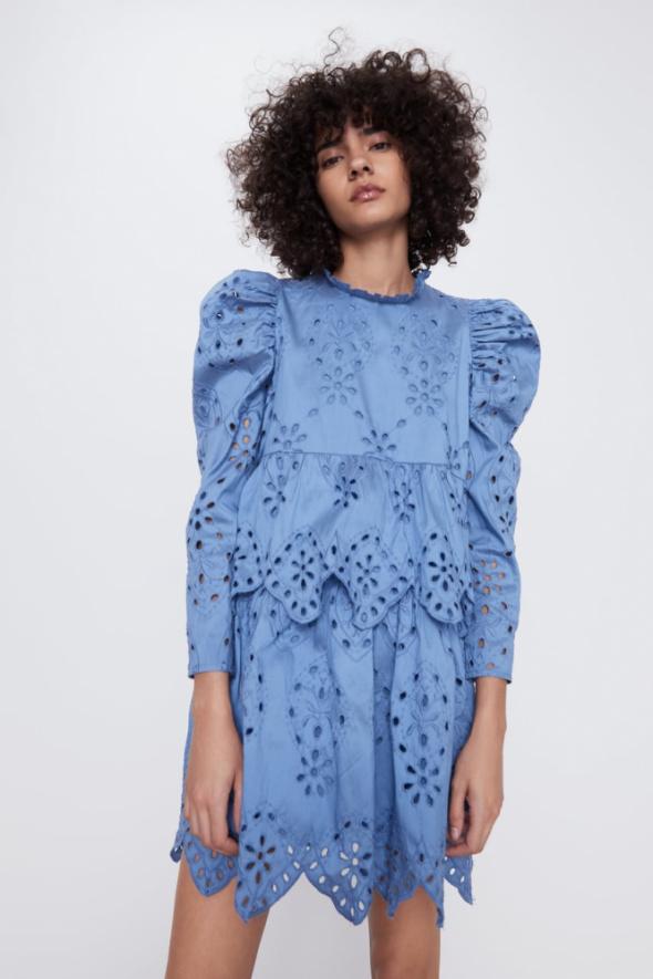 Zara nowa błękitna ażurowa sukienka gipiura baby blue