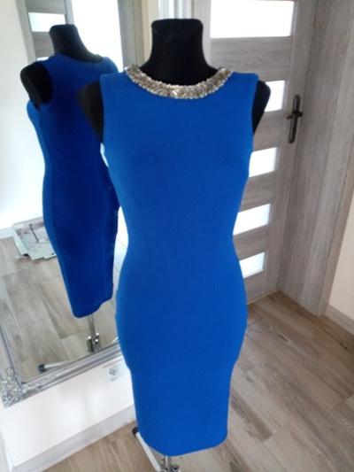 sukienka midi 36 niebieska kobaltowa