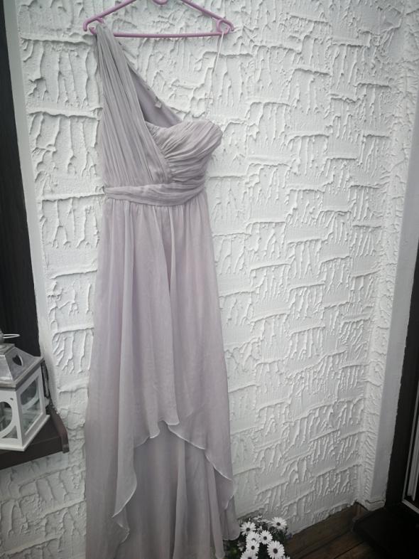 Asymetryczna liliowa sukienka ASOS XS maxi marszczenia długa su...