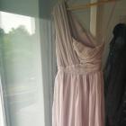 Asymetryczna liliowa sukienka ASOS XS maxi marszczenia długa suknia