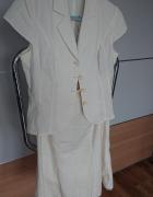 Komplet spódnica i żakiet ecru w rozmiarze M...
