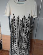 Suknia długa białoczarna w rozmiarze M wzór geometryczny...