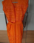 Letnia sukienka z bolerkiem pomarańczowa w rozmiarze M...