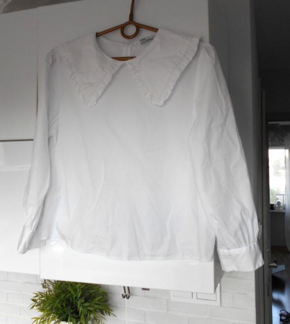 Zara biała bluzka kołnierzyk collar