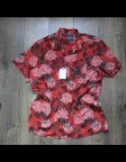 Męska letnia nowa koszulka czerwona we wzory 43 44...