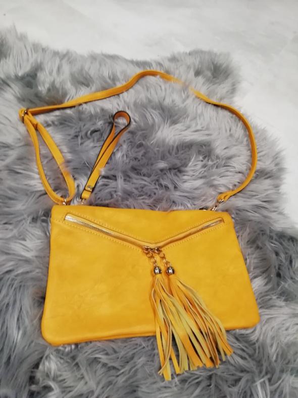 kopertowa żółta torebka