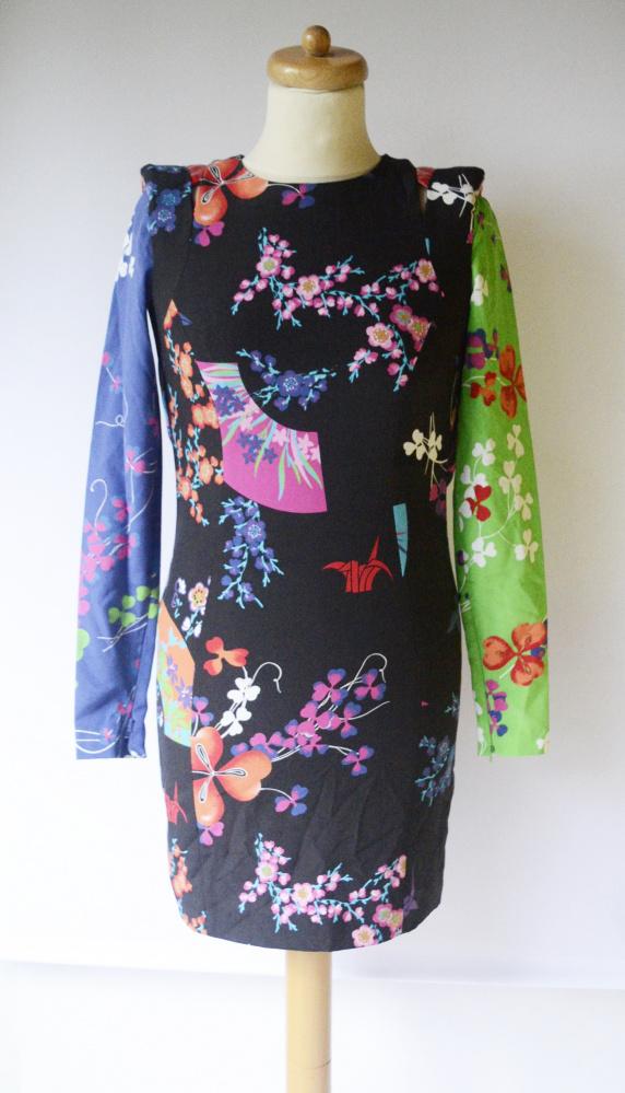 Sukienka XS 34 H&M Versace Wzory Kwiaty Wizytowa...