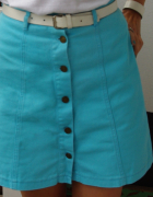niebieska jeansowa spódnica trapez...