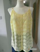 Bluzka Koszulka Cytrynowa Pastelowa Ażurowa Boho by UK L...