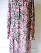 Sukienka Kwiaty L 40 Elegancka Różowa Kwiatki H&M Wizytowa...