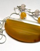 Żółte agaty wisior i kolczyki zestaw biżuterii srebro...