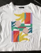 Bershka t shirt crop top oversize biały z wielokolorowym nadruk...