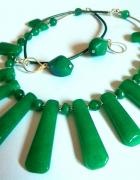 Zielony jadeit chiński efektowny zestaw biżuterii srebro...