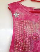 Tie dye crop różowy top MTV używany asymetryczny handmade diy x...