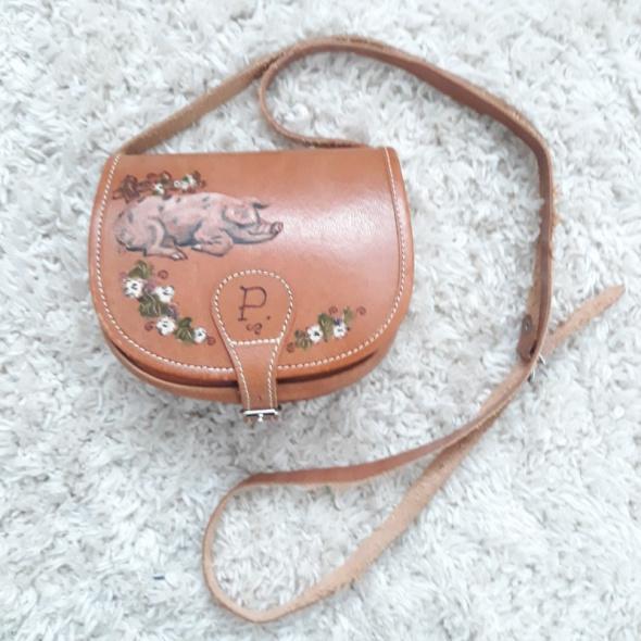 Unikat torebka skórzana ręcznie malowana na ramię jak nowa vintage