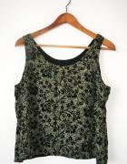 Beżowa bluzka floral we wzory czarne kwiaty retro vintage...