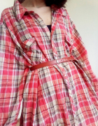 Długa koszula vintage w kratkę oversize sukienka retro krata...