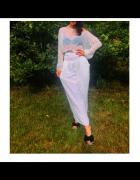 Białe spodnie alladynki szarawary Rainbow...