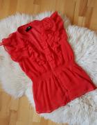 Czerwona bluzka mgielka falbanki hm 36 Garden...