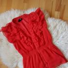 Czerwona bluzka mgielka falbanki hm 36 Garden