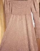 S 36 brazowa sukienka rozlozysta brokatowa polyskujaca