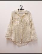 Made In Italy koszula w paski camel 95 bawełna przewiewna 36...