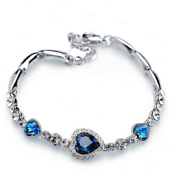 Nowa bransoletka srebrny kolor niebieskie serca serduszka serce cyrkonie kamienie