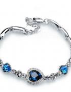 Nowa bransoletka srebrny kolor niebieskie serca serduszka serce...