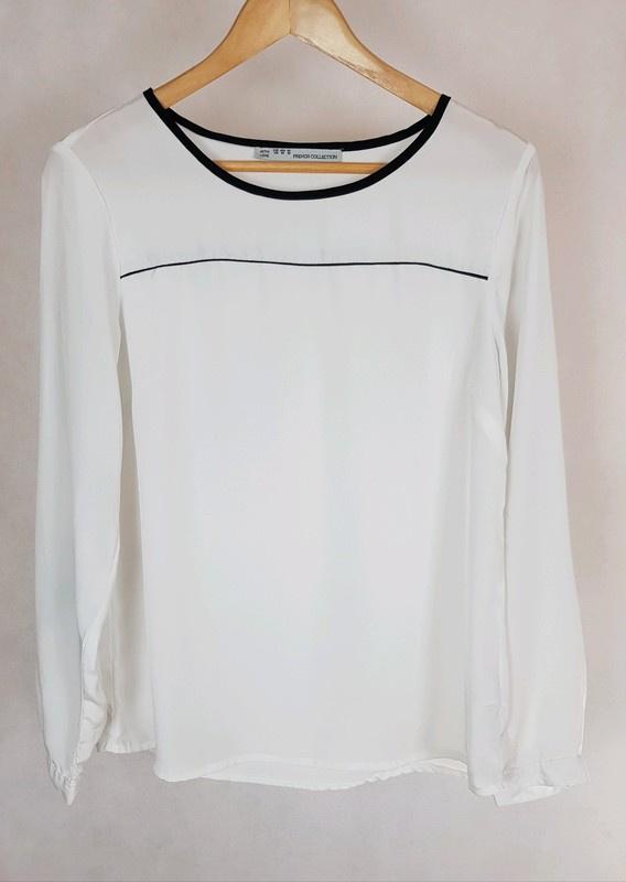 Biała bluzka z czarnymi wstawkami Butik M...