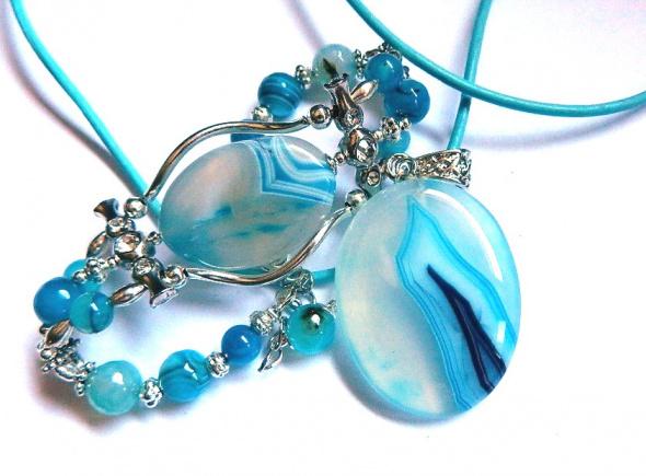 Błękitne agaty wisior i bransoletka zestaw biżuterii