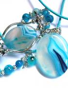 Błękitne agaty wisior i bransoletka zestaw biżuterii...