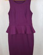 Śliwkowa sukienka z baskinką New Look 40 12...