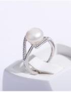 Nowy srebrny pierścionek biała perła z perłą srebro 925 pozłaca...