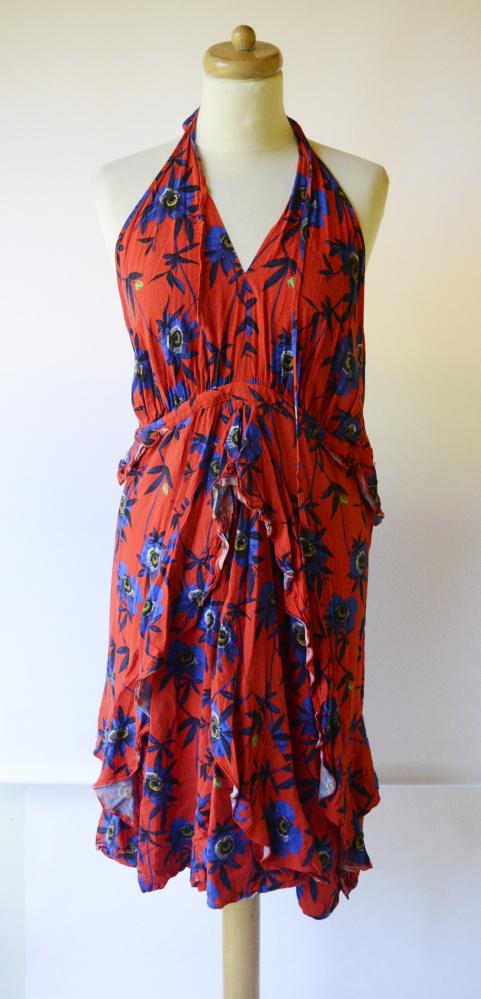 Sukienka Kwiaty H&M XXL 44 Czerwona Falbanka Kwiatki...