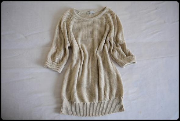 Beżowy sweter Peacocks rozmiar 42 XL rękaw za łokieć