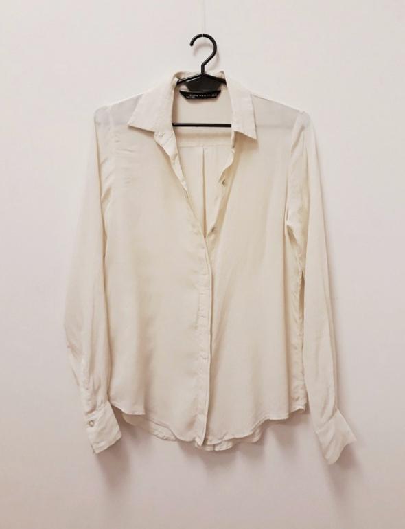 Zara Woman koszula 100 rayon ecru kremowa klasyczna 34 XS