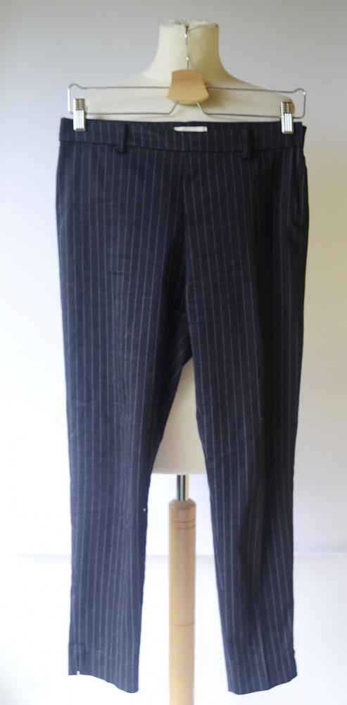 Spodnie Granatowe Paski H&M M 38 Paseczki Wizytowe